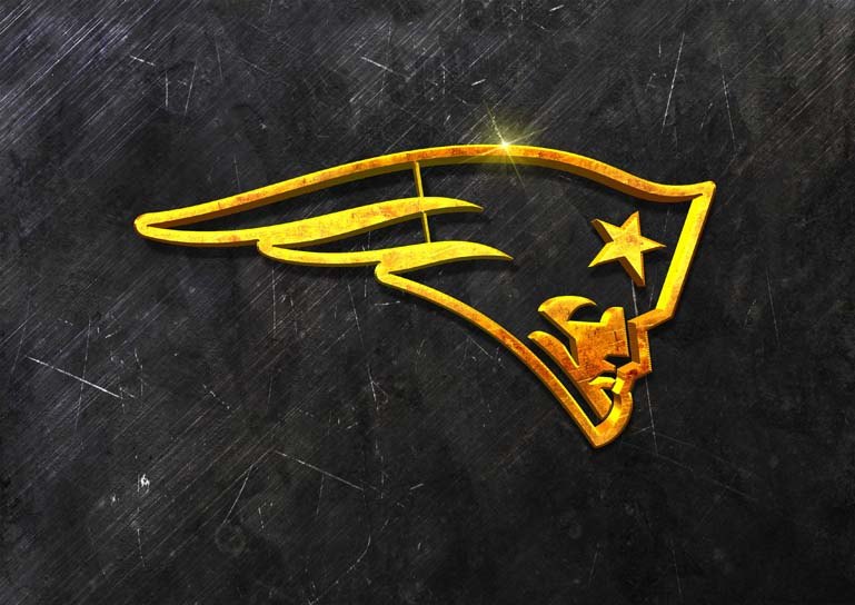new england patriots 3d grunge gold